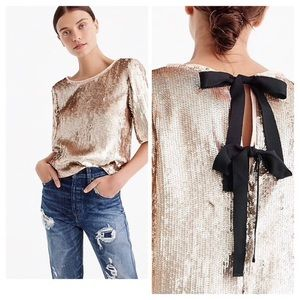 J. Crew Sequin Cropped Top in Rose Gold